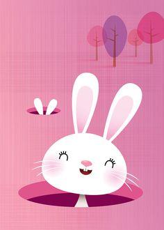 Bunny rabbit art print in pink children's art by IreneGoughPrints