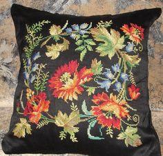 Gallery.ru / Фото #5 - Вышивки моей мамы (и схемы к ним) - livadika Cross Stitch Pillow, Cross Stitch Rose, Needlepoint Pillows, Floral Pillows, Needle And Thread, Pin Cushions, Poppies, Needlework, Tapestry