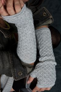 Alpaca Beehive Knit Fingerless Gloves