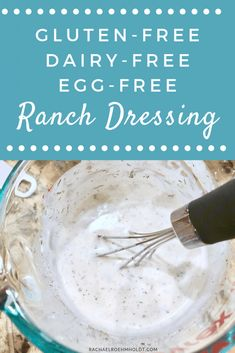 Gluten-free Dairy-free Egg-free Ranch Dressing Recipe - Rachael Roehmholdt Looking for a ranch dressing recipe that is gluten-free, dairy-free, egg-free AND delicious? I have you covered! Dairy Free Salads, Dairy Free Pizza, Dairy Free Eggs, Dairy Free Diet, Dairy Gluten Free Dessert, Dairy Free Dinners, Dairy Free Mayo, Egg Free Recipes, Allergy Free Recipes
