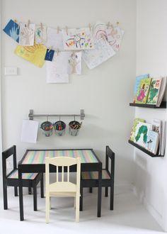 wall bin idea for art, art supplies and reading