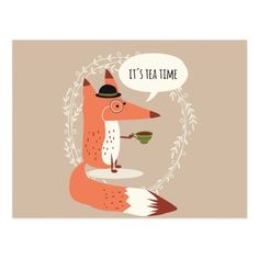 Cartoon Fox Postcards Zazzle - Get Your Hands On A Customizable Cartoon Fox Postcard From Zazzle Find A Large Selection Of Sizes And Shapes For Your Postcard Needs Cute Cartoon Fox Having Tea Time Postcard Off With Fuchs Illustration, Monster Illustration, Mini Albums, Tea And Books, Fox Art, Easy Watercolor, Cute Cartoon, Cute Wallpapers, Art Lessons