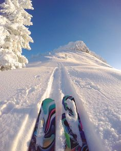 """""""Morning Bliss — you know that moment the sun finally peaks over the mountains and hit yours face. When you can feel her warmth and love."""" #skiing"""