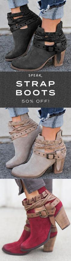 Buckle-Strap Ankle Boot Heels - 50% off now at SpeakShop.co <3 Boot Heels, Heeled Boots, Bootie Boots, Ankle Boots, Cute Boots, Crazy Shoes, Me Too Shoes, Fall Outfits, Cute Outfits