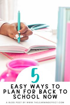 "Find out how to plan for back to school in 5 easy steps! You can start planning over the summer without it consuming all of your time off. As a former upper elementary teacher, I understand the pressure of ""fitting it all in"" throughout the school year. Teaching 3rd, 4th, 5th, & 6th grade had my gears turning every summer, planning ahead so I could efficiently teach students beginning on day one. I share my best tips for making your year start off with ease. #thelearningeffect"