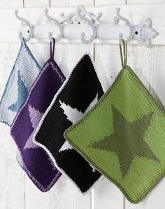 Grytlapp med stjärna Fair Isle Knitting Patterns, Crochet Patterns, Crochet Home, Pot Holders, Free Pattern, Textiles, Tapestry, Diy Crafts, Color