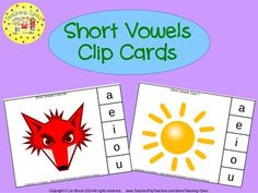 These cards are terrific – A Hands-On Activity your kiddos will love!  112 Short Vowels Clip Cards allow learners to practice their short vowel sounds. On each card is a picture and five vowel choices. Learners sound out the picture name and clip a clothespin to the correct short vowel sound.  ~~~~~ Newly Updated ~~~~~ These cards have been rearranged to redistribute the vowels, an answer key has been added, and recording sheets have been included to further enhance this phonics packet.