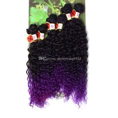 Colored T1B/Purple Jerry Curl Synthetic Weave Ombre Braiding Hair Afro Kinky Curly Sew in Hair Extensions