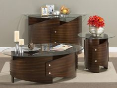 Waterville Contemporary Walnut Coffee Table Set
