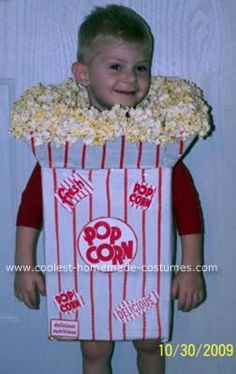 Homemade Popcorn Box Halloween Costume: This is a homemade Popcorn Box Halloween costume that I, Rebecca, put together for my 3 year old boy Brandon.   I started out not knowing what to do but