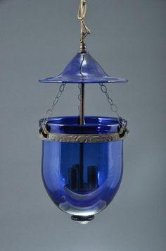 Cobalt Blue Hanging Lantern Light Fixture Bell – home accessories