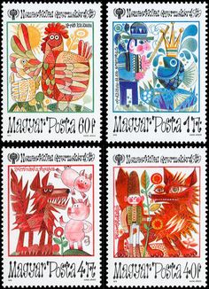 hungarian stamps - 1979 Magyar Andersen I love the fairytale folk art on these stamps Postage Stamp Design, Graphisches Design, Going Postal, Hungarian Embroidery, Vintage Stamps, Illustrations, Mail Art, Stamp Collecting, Paper Art