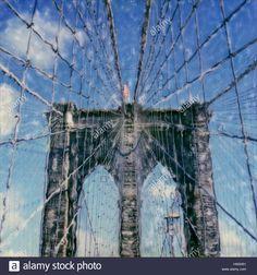 Download this stock image: Brooklyn Bridge NYC. Polaroid sx70. Circa 2002-2004. - hw2451 from Alamy's library of millions of high resolution stock photos, illustrations and vectors.