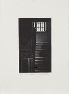 Jukka Vänttinen: Efter regnet, 2004,  mezzotint, 35x26 cm, edition 13/295 - Stockholms Auktionsverk 5/2016 Illustration Art, Illustrations, Finland, Stairs, Prints, Stairway, Staircases, Illustration, Printed
