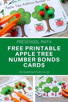 A free printable activity for preschoolers to work on their number bonds to 5 themed on apples for early autumn math. Apple Activities, Printable Activities For Kids, Preschool Printables, Autumn Activities, Motor Activities, Preschool Activities, Free Printables, Free Preschool, Free Math