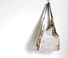 Ruffle and lace Slouch style bag latte and cream by Amayahandmade
