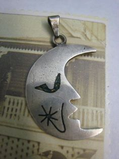 Vintage Sterling Silver Mexican Crescent Moon Pendant by Glamaroni, $36.00