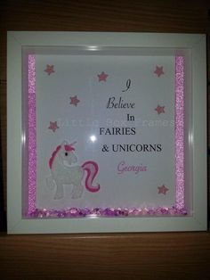 💖🦄 Little pink unicorn box frame! Perfect for a little girls room 🦄💖 Unicorn, Pink, Frame, Stars, Sparkle, Crystals ✨ Frame Crafts, Fun Crafts, Crafts For Kids, Button Art, Button Crafts, Unicorn Cards, Christmas Craft Fair, Unicorn Bedroom, 3d Pictures