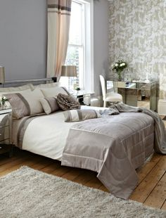 love wallpaper adds a depth of textures and interest to a room! again, lvoe the muted colours for a bedroom.