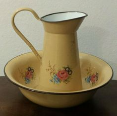 Vintage Antique Pitcher and Bowl.