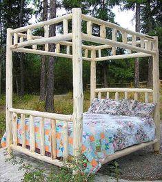 Double Log Canopy Bed - Montana Custom Log Furniture