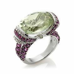 Beautiful,  Victoria Wieck Prasiolite, Rhodolite and Zircon Ring