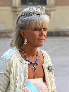 Princess Birgitta with the Connaught Diamond Tiara and faberge diamond and sapphire necklace
