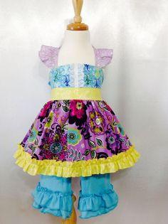 Girl Dress Size 4  Royal Top & Pants Set; Handmade; 100 % Cotton #Handmade #DressyEverydayHoliday