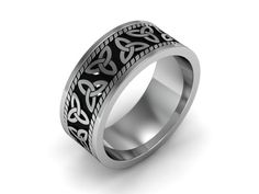 Mens Celtic Wedding Band 14k White Gold With Black Antiquing. Triquetra, Trinity Knot, Trefoil Knot and Celtic Triangle Ring. by UntilDeathInc.com