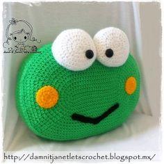 Keroppi the Frog Pillow pattern by Janet Carrillo Unique Crochet, Cute Crochet, Crochet For Kids, Crochet Baby, Crochet Pillow Pattern, Crochet Cushions, Crochet Patterns, Crochet Home, Crochet Crafts