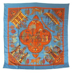 Hermes Persepolis Egyptian Silk Scarf $465. Direct purchase call 415-387-3031 Check out more exquisite fashion items from Helpers House of Couture at: http://www.1stdibs.com/dealers/helpers-house-of-couture