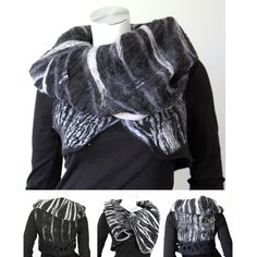 Art cloth clothing XS / S,  black white nuno felt vest, zebra, bolero, shrug, animal print, silk wool, cozy, ooak , 4 in 1. €220.00, via Etsy.