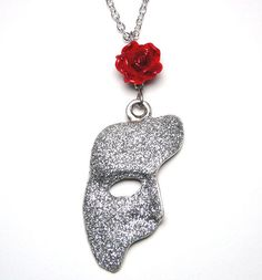 Phantom Of The Opera Mask Rose Necklace Sparkly by missbohemia, £17.00