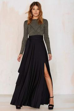 Lioness Wildfire Maxi Skirt - Black