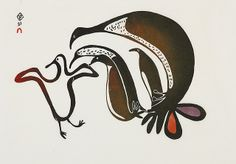 Young Birds Strutting by Lucy Qinnuayuak 1967 colour stonecut & stencil on paper