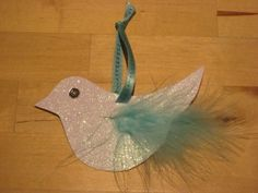 simple paper, glitter, sequin, feather - dove of peace - turnaround xmas craft