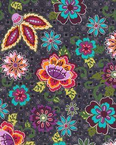 Priscilla - Folksy Floral & Blossoms - Charcoal Gray