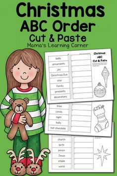 Christmas ABC Order Worksheets: Cut and Paste Kindergarten Worksheets, Classroom Activities, Classroom Setup, Alphabet Activities, Sneezy The Snowman, Preschool Calendar, Christmas Worksheets, Christmas Printables, Library Skills
