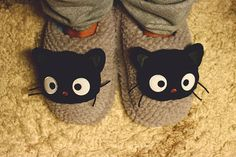 black furry fancy purss | Slippers: Black Cat Slippers - Inspiring & lovely Slippers with Black ...