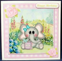 Cute elephant garden topper decoupage on Craftsuprint designed by Toni Martin - made by Cheryl French - Printed onto glossy photo paper. Attached base image to card stock using ds tape. Built up image with 1mm foam pads. - Now available for download!