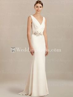 adf37430 Casual wedding dress with a sexy V-neckline will make you look modern and  sleek