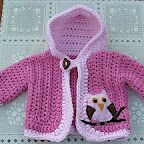 love this simple crochet jacket with owl