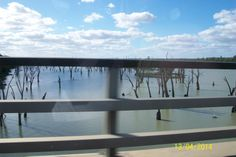 on a bridge going over the Murray River heading into Waikerie SA...........
