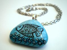 hand painted on sea stone, beach pebble. Original  #handpainted #necklace #pendant #turquoise #fish