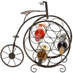 """Tricycle Wine Rack Holds 7 Bottles 19"""" High Wheel Metal Antique Accent Decor New #CasaCortes"""