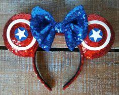 Avengers Captain America Inspired Mickey Ears by EverAfterByPatti Diy Disney Ears, Disney Mickey Ears, Disney Bows, Disney Diy, Disney Crafts, Cute Disney, Disney Style, Disney Trips, Diy Mickey Mouse Ears