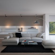 Interior Contemporary Living Room Furniture With Black Rug black House Design, Modern Room, Room Design, Living Room Furniture, Home Decor, Contemporary Living Room Furniture, Living Room Grey, Living Decor, Rugs In Living Room