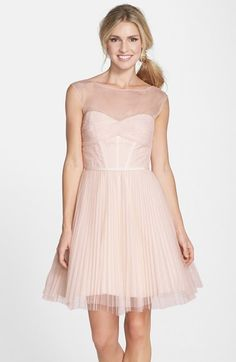 Monique Lhuillier Bridesmaids Illusion Yoke Tulle Fit & Flare Dress available at #Nordstrom