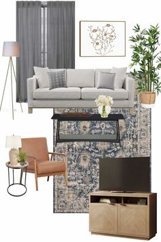 A modern classic living room mood board design using decor and furniture from Walmart for under $2,000.