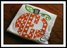 Pumpkin Circle Monogram Applique by AprylEatman on Etsy